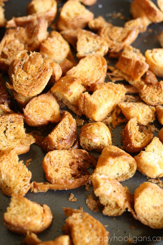 homemade croutons made in the oven