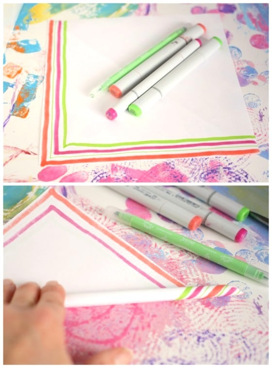 white paper, markers for candy cane stripes