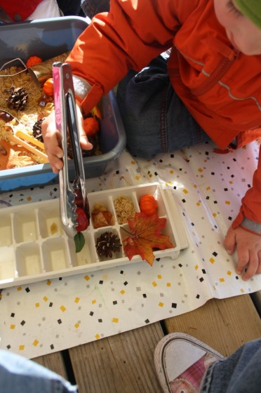 preschooler putting items in ice cube tray with tongs