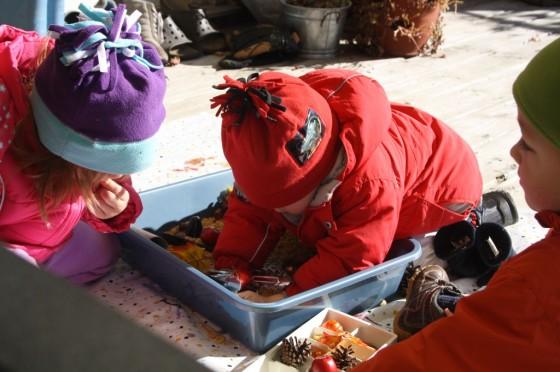 Toddler playing in autumn sensory bin