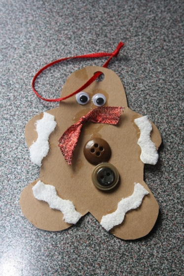 Easy Christmas Crafts for kids. - gingerbread ornament