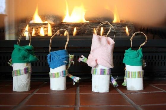 toilet roll snowmen by the fire