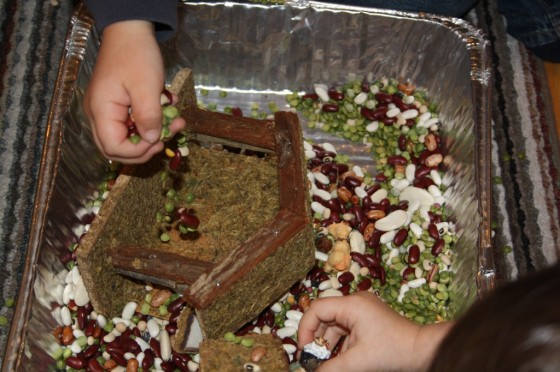 fine motor skills - playing with lentils