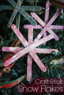 Craft Stick Snowflake ornaments (splattered)
