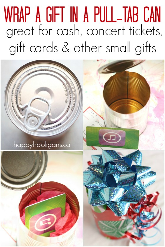 How to wrap a small gift in a pull-tab can - Happy Hooligans