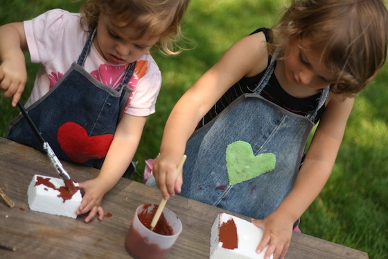 kids wearing homemade denim aprons for crafting