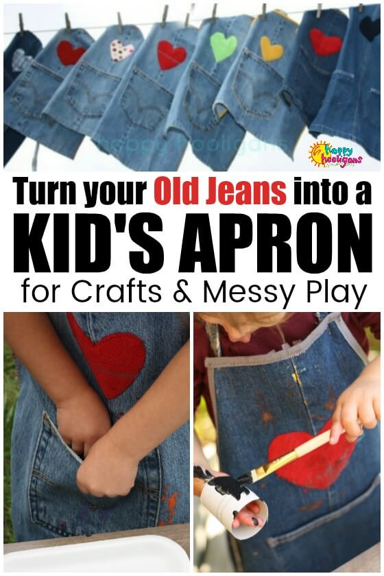 How to Make a Kids Apron from Old Jeans