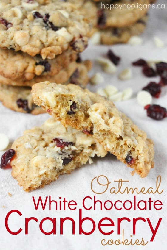 Oatmeal White Chocolate Chip Cranberry Cookies - Happy ...