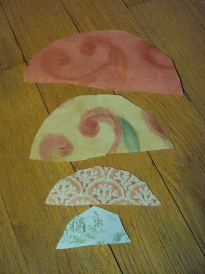 cutting semi circles to make paper cones