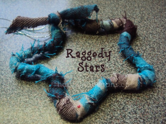 Rag Star Ornaments with Pipe Cleaners and Fabric Scraps