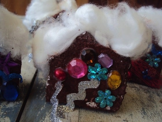 gingerbread house ornaments with cotton roof tops