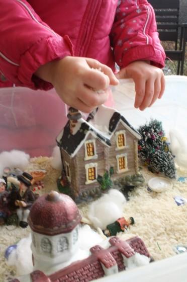 Christmas Village Sensory Bin
