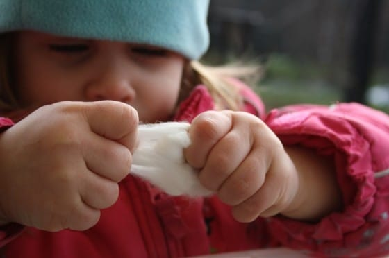 toddler pulling cotton ball apart