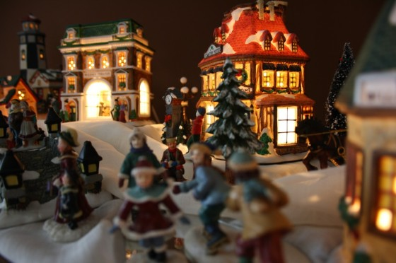 Christmas village porcelain houses and people