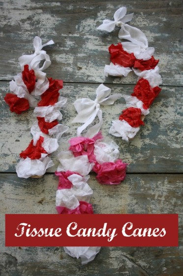 Tissue Paper Candy Canes Craft