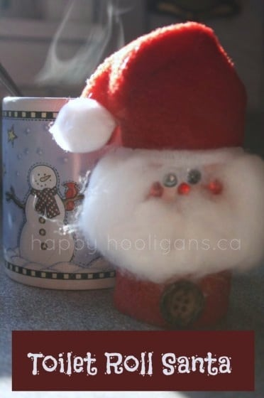 cardboard roll santa ornament