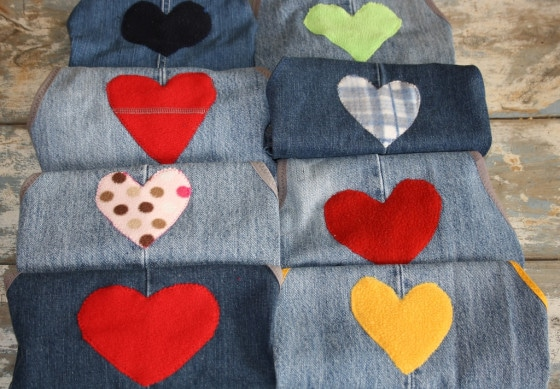 A set of repurposed denim aprons made from old jeans
