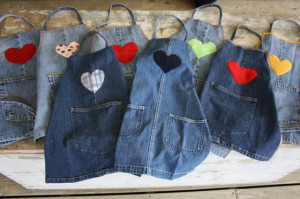 re-purposed denim aprons - happy hooligans