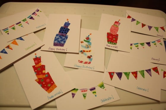 homemade birthday cards made with fabric scraps