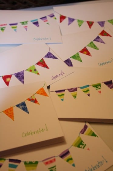 homemade cards with fabric scrap buntings