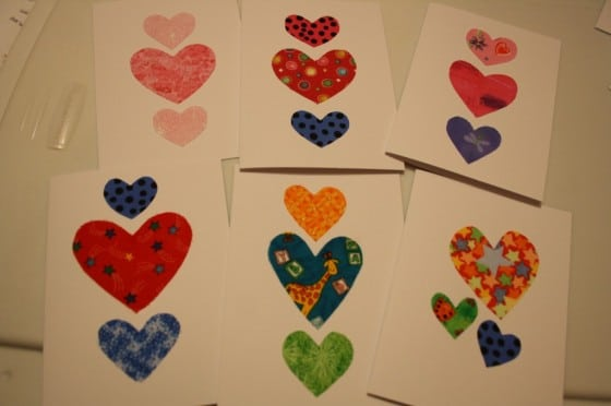 homemade cards with fabric hearts