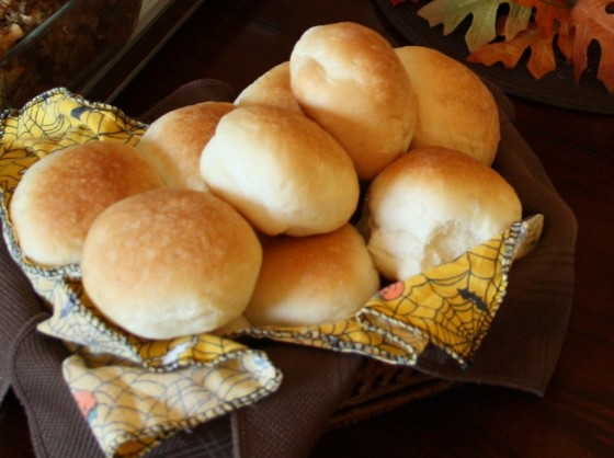 basket of bread machine dinner rolls