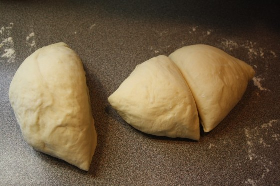 Dinner roll dough cut into 16 wedges