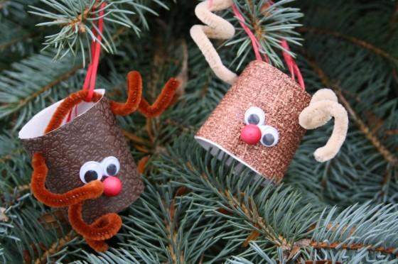 2 toilet paper roll reindeer hanging on christmas tree