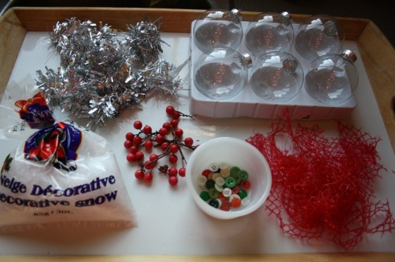 supplies for kids to fill clear glass christmas ornaments