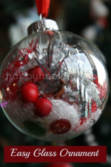 clear glass christmas balls filled by toddlers