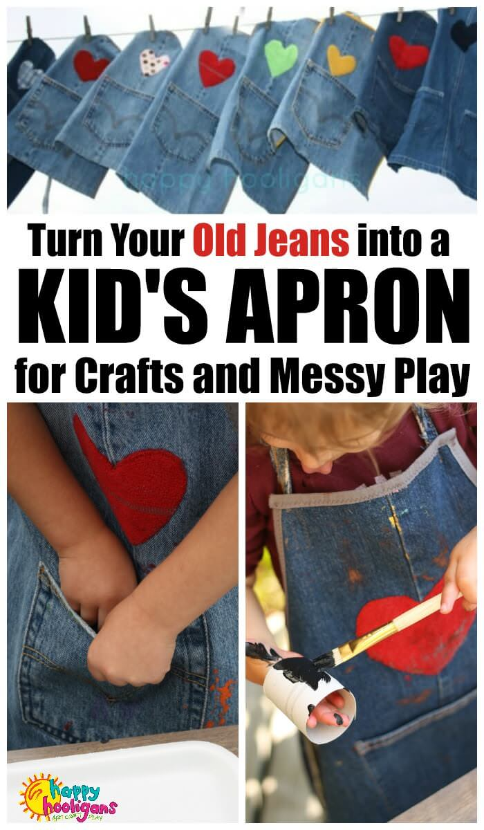 Turn your old jeans into a kids craft apron for messy play and crafting. Easy, step-by-step photo tutorial. Great gift for a craft child, for kindergarten, preschool or daycare. One pant leg yields one child's apron. #CraftyKids #KidsApron #RepurposedJeans #CraftApron #DenimApron #RepurposedDenimIdeas #Toddlers #Preschoolers