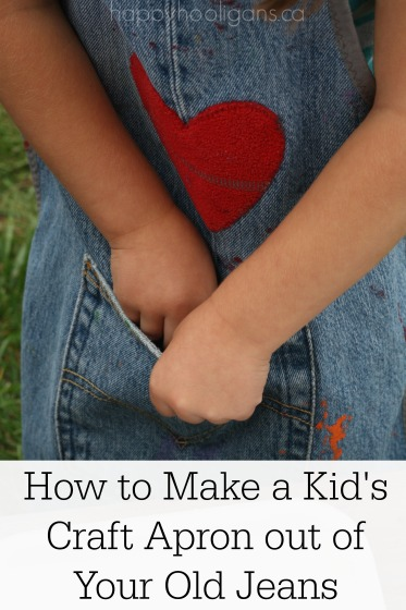 kid's craft apron made from denim pant leg