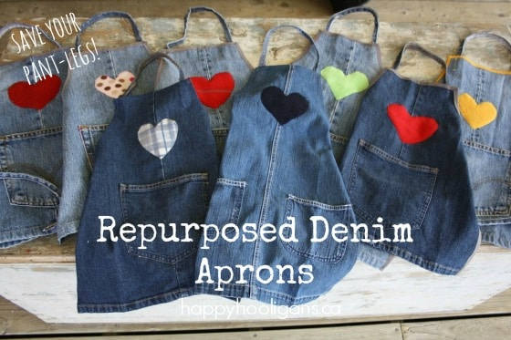 repurposed denim kid's craft aprons