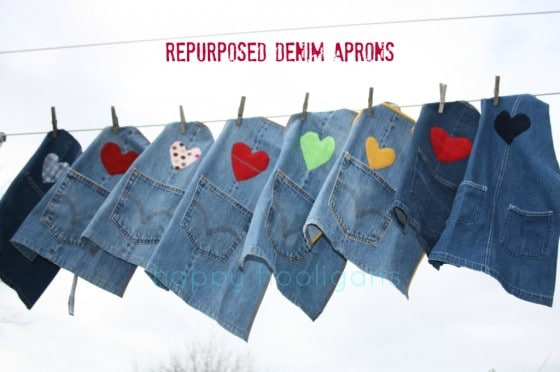 repurposed denim aprons hanging from clothes line
