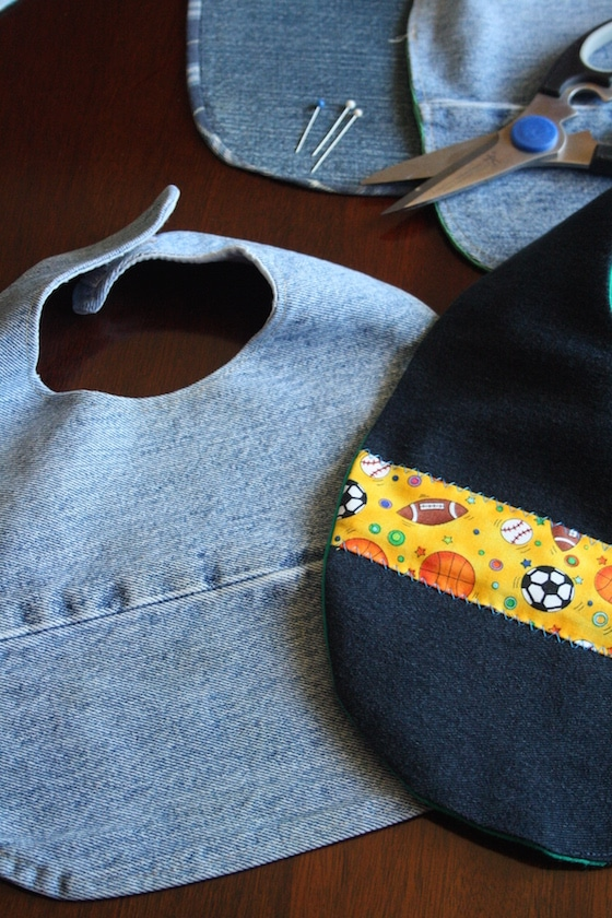 Bibs made from old jeans