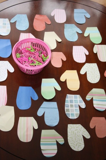homemade mitten matching activity made from wall paper samples