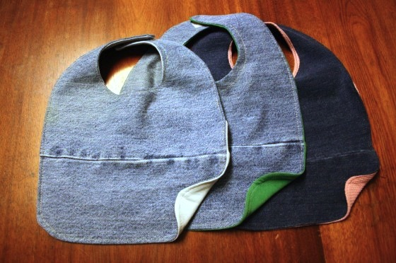 repurposed denim bibs for toddlers