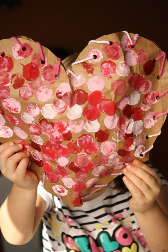 finished paper bag puffy heart