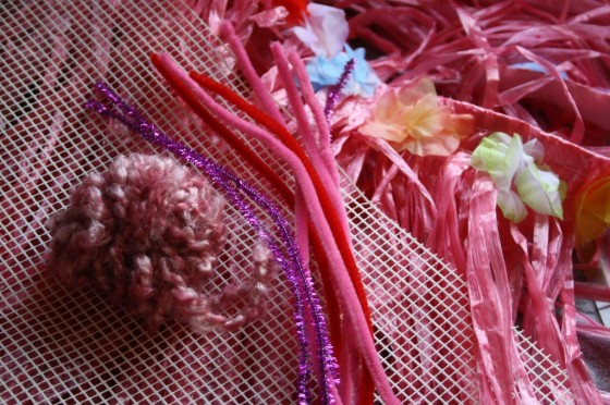 mesh, yarn, pipe cleaners