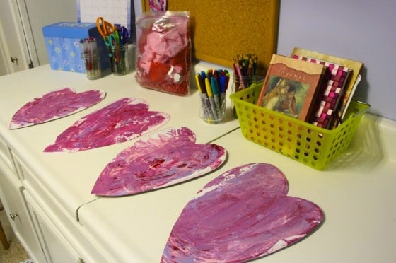 credit card painting - valentines' hearts