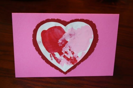 Heart Handprint Valentines Card