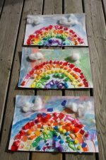 Toddler-Made Rainbow Collage with Craft Scraps