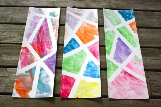 Tape resist stained glass art project for kids happy for Painting craft projects