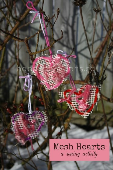 """Mesh Hearts """"Sewing"""" Activity for Toddlers and Preschoolers"""