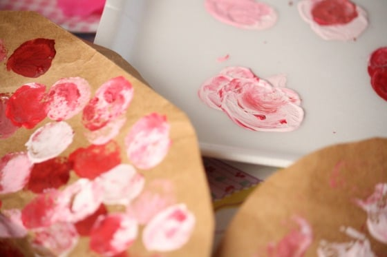 red and pink paint and paper bag hearts