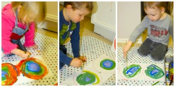 kids painting rainbows