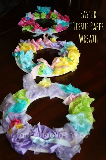 Easter tissue paper wreaths made by toddlers - Happy hooligans