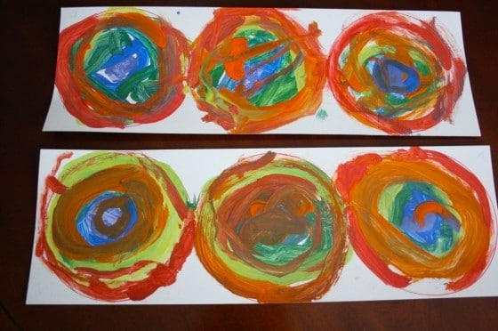 toddler painted rainbows