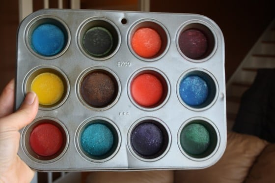 tray of dried homemade watercolour paint disks