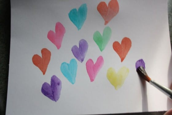 hearts painted with homemade watercolors